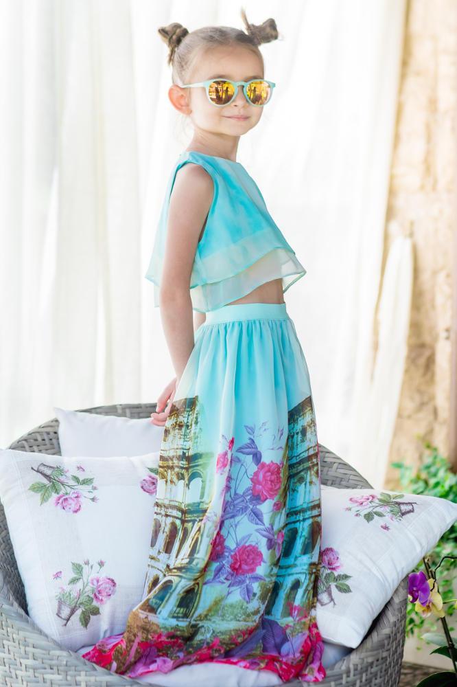 taglia 40 1f35f 6f55e Mom-Friend   Set top e gonna lunga elegante in chiffon azzuro con stampa  della città eterna da bambina *Roma*