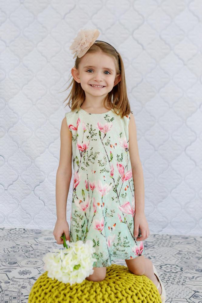 size 40 cc3a1 49b6e Mom-Friend | Abito / vestito corto in pizzo delicato con fiori primaverili  bambina *Magnolia*