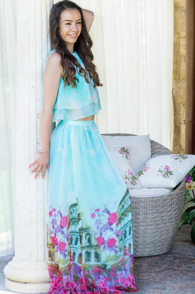 migliori scarpe da ginnastica fc46b 0c71e Mom-Friend | Set top and long elegant skirt in light blue chiffon with  print of the eternal city child girl * Rome *