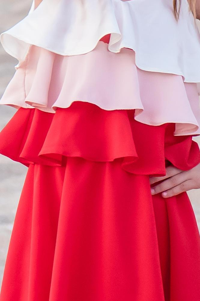 reputable site 81c3b e1614 Mom-Friend | MAMMA e FIGLIA - Abito / vestito in georgette di seta in tre  colori - ecru, rosa chiaro e rosso *Poppy*